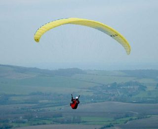 Firle_beacon_yellow_paraglider